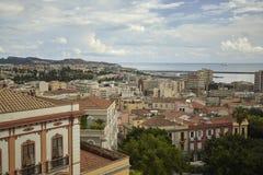 俯视海的卡利亚里看法 免版税图库摄影