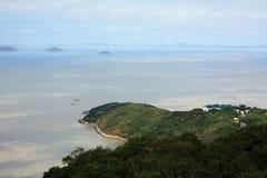 俯视海边海岛 免版税图库摄影
