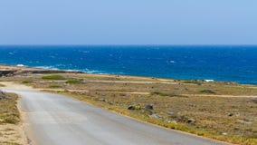 俯视海,阿鲁巴的路 库存图片