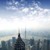 俯视的上海地平线 免版税库存图片