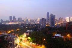 俯视的厦门市在晚上 免版税库存图片