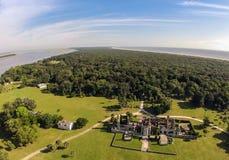 俯视的坎伯兰郡海岛 库存照片
