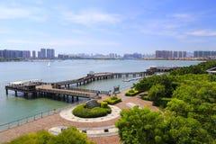 俯视的木桥梁wuyuanbay 免版税库存图片
