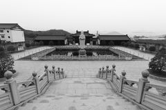 俯视的dacichansi寺庙,黑白图象 库存图片