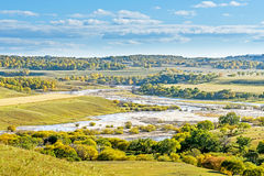 俯视的Nuanhe河秋天风景 免版税库存图片