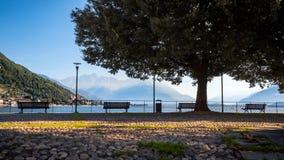 俯视科莫湖的Gravedona散步 库存照片