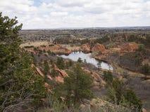 俯视红色岩石峡谷露天场所在科罗拉多泉 免版税库存图片