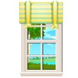 俯视绿草的草甸窗口在夏天隔绝在白色背景 室内设计豪华国家 向量例证