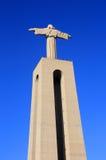 俯视里斯本,葡萄牙的耶稣基督纪念碑 免版税库存照片