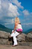 俯视风景妇女 免版税库存图片