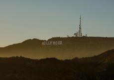 俯视洛杉矶的好莱坞标志 免版税图库摄影