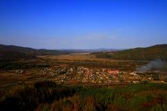 俯视Hendao小镇 库存图片