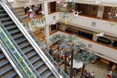 俯视jinyan旅馆大厅  免版税库存照片