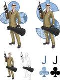 俱乐部西班牙黑手党成员的杰克有汤米枪的 库存图片
