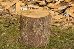 绊倒在背景堆木头在村庄 免版税库存图片
