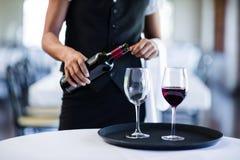 倒在玻璃的女服务员的中间部分红葡萄酒 免版税图库摄影