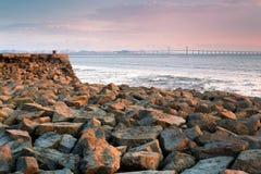 倒塌的码头和桥梁 库存图片