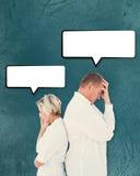 翻倒夫妇的综合图象不互相谈话在战斗以后 库存图片
