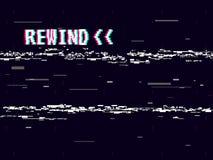 倒带小故障背景 设计的减速火箭的VHS模板 Glitched线路噪声 映象点艺术8位样式 向量 向量例证
