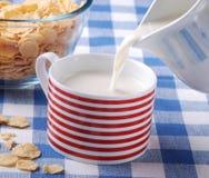 倒新鲜的牛奶早餐 免版税库存照片