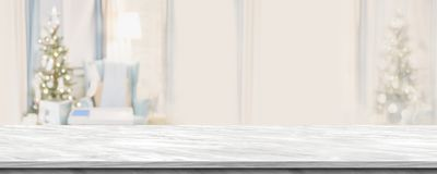 倒空与抽象温暖的客厅装饰的灰色大理石台式 免版税库存图片