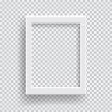 倒空与透明阴影的现实照片框架在格子花呢披肩黑色白色背景 库存照片
