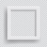 倒空与透明阴影的现实照片框架在格子花呢披肩黑色白色背景 库存图片