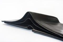 倒空在白色背景的黑皮革钱包 免版税库存照片