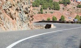 倒空在阿特拉斯山脉低角度的挥动的路被射击在曲线边缘 免版税库存图片
