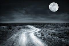 倒空审阅大草原的农村路在满月晚上 免版税库存照片