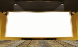 倒空礼物的木桌地板并且显示产品在演播室与大空白的广告牌的屋子背景里在白色 库存照片