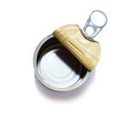 倒空被打开的锡罐 免版税库存照片