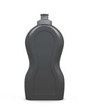 倒空黑瓶在白色背景的洗涤剂 免版税库存照片