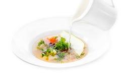 倒肉汤的鱼蔬菜通心粉汤 免版税库存图片