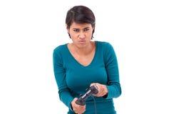 翻倒,沮丧的女性游戏玩家 库存图片