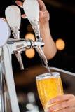 倒从轻拍的草稿白肤金发的啤酒 免版税库存照片