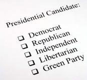 候选人总统选择 免版税库存照片