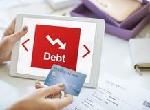债务风险困难倒台概念 库存照片
