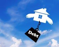 债务Conccept,房屋贷款 库存照片