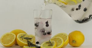 倾吐入玻璃一份冷的饮料 柠檬、冰和黑醋栗在饮料玻璃 免版税库存图片