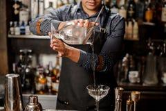倾吐冷的酒精饮料的男服务员入鸡尾酒杯 库存照片