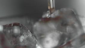 倾吐在玻璃的红色马蒂尼鸡尾酒宏观射击充分与冰块 马蒂尼鸡尾酒积土每与冰的玻璃 做鸡尾酒 影视素材