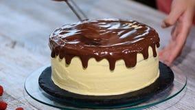 倾吐在赤裸蛋糕的液体巧克力 影视素材