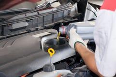 倾吐新的油润滑剂的服务的技工入发动机 库存图片