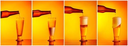 倾吐的啤酒序列拼贴画 免版税库存照片