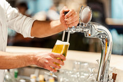 倾吐的新鲜的啤酒 库存照片