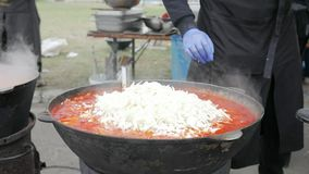 倾吐菜入锅炉,铸铁罐用汤,在木火炉,烹调法户外大锅,在火的酿造的平底深锅 股票视频