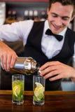 倾吐从振动器的侍酒者一份饮料到在酒吧柜台的一块玻璃 库存照片
