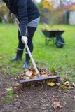 倾斜从领域的花匠妇女叶子秋天 库存图片