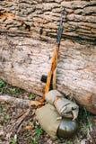倾斜反对tr树干的二战苏联俄国步枪  免版税图库摄影